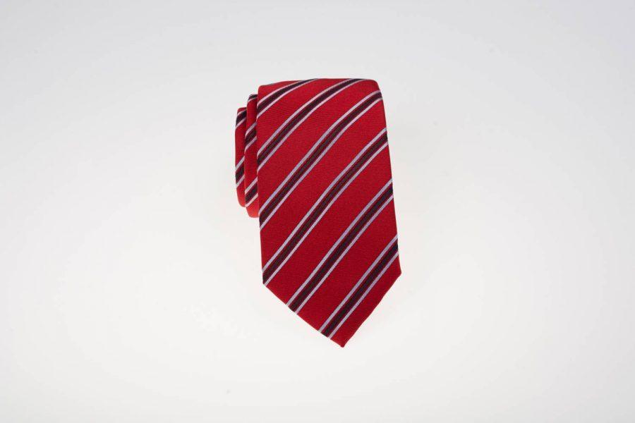 Γραβάτα Κόκκινη με Μπλε Ρίγα | Andrew's Ties
