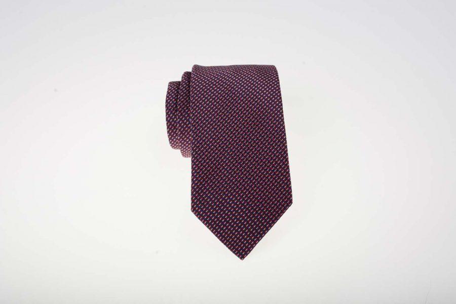 γραβάτα κόκκινη με μπλε ρίγα μετάξι | Andrew's Ties