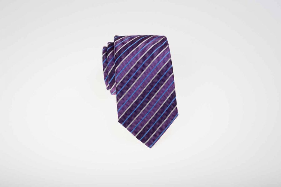 Γραβάτα μωβ με σιέλ και λευκές ρίγες, Μετάξι 100%