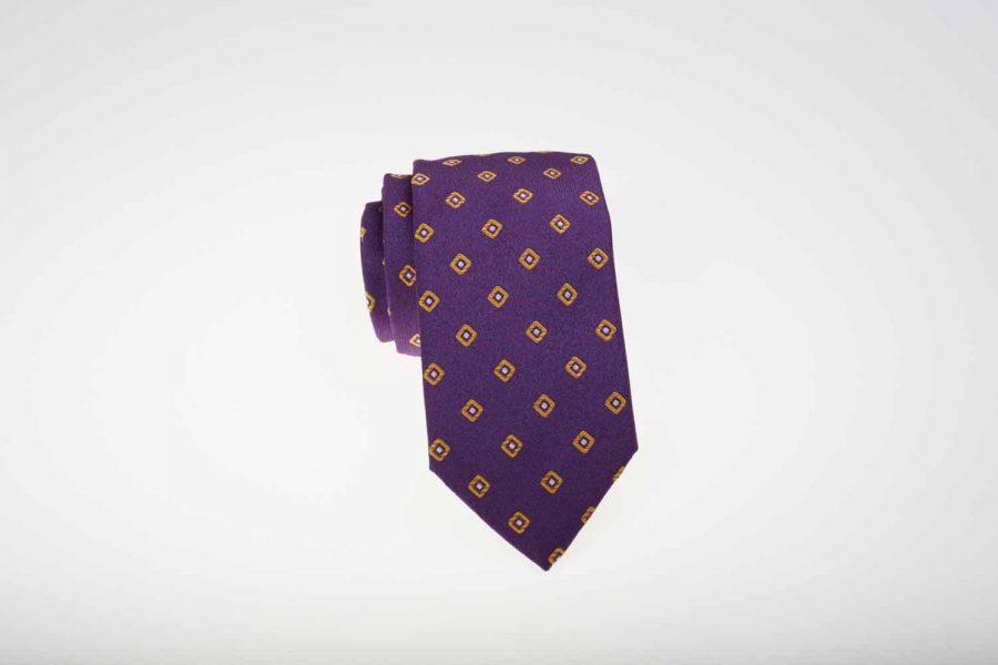Γραβάτα μωβ με κίτρινα dots σχέδια, Μετάξι 100%