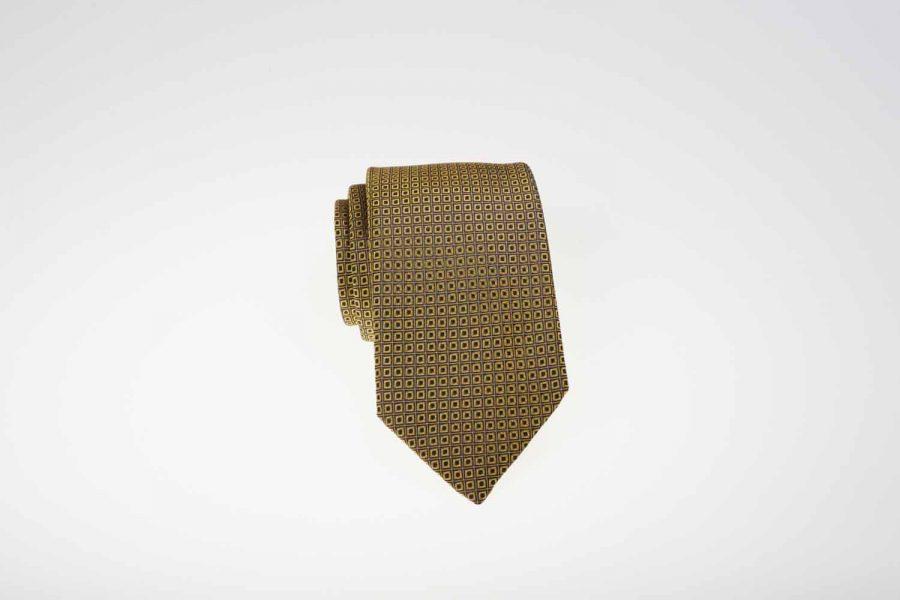 Γραβάτα κίτρινη με μπλε dots, Μετάξι 100%