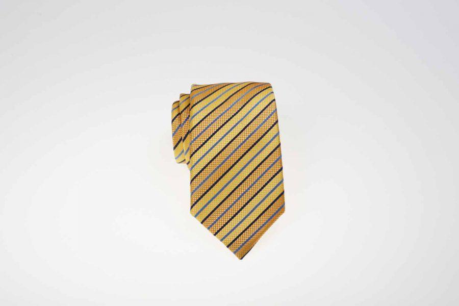 Γραβάτα κίτρινη με μπλε ρίγες, Μετάξι 100%
