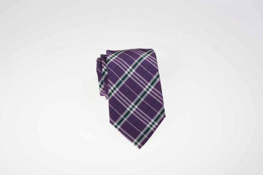 Γραβάτα μωβ με πράσινο και λευκό καρό, Μετάξι 100%