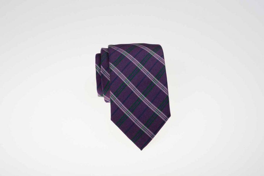 Γραβάτα μωβ με λευκό και πράσινο καρό, Μετάξι 100%