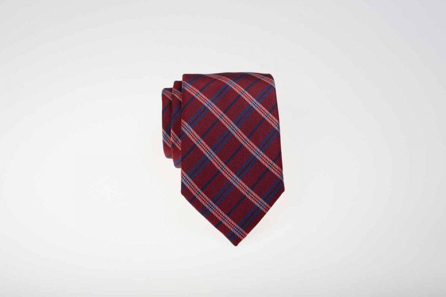 Γραβάτα κόκκινη με λευκό και μπλε καρό, Μετάξι 100%