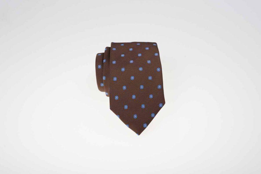 Γραβάτα καφέ με σιέλ και λευκά dots, Μετάξι 100%