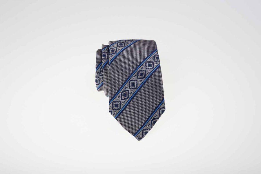 Γραβάτα γκρι με μπλε ρίγες, Μετάξι 100%