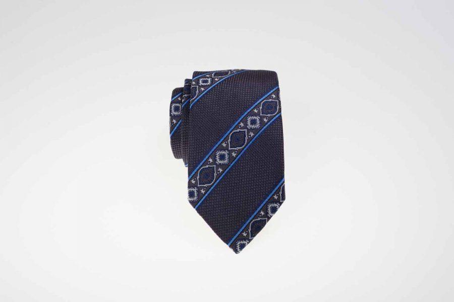 Γραβάτα γκρι σκούρο με σιέλ ρίγες, Μετάξι 100%