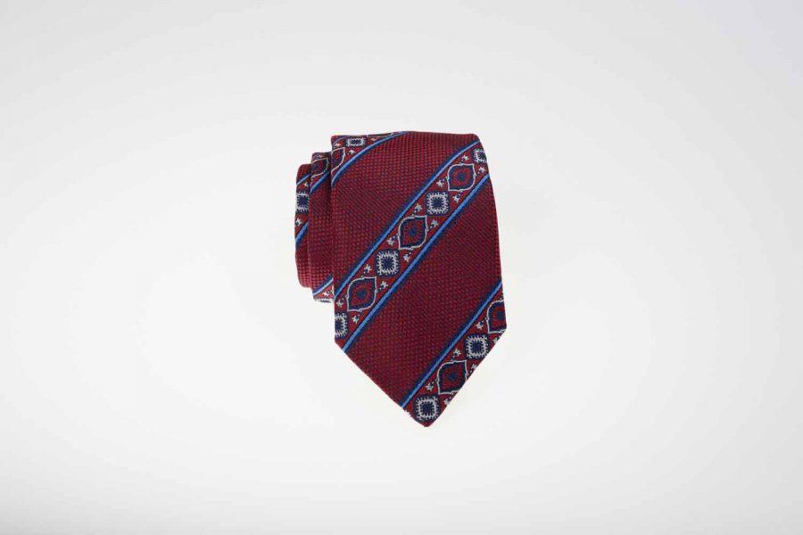 Γραβάτα κόκκινη με μπλε - σιέλ ρίγες, Μετάξι 100%