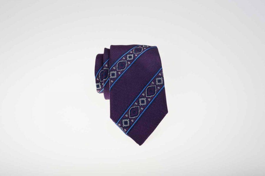 Γραβάτα μωβ με σιέλ ρίγες, Μετάξι 100%