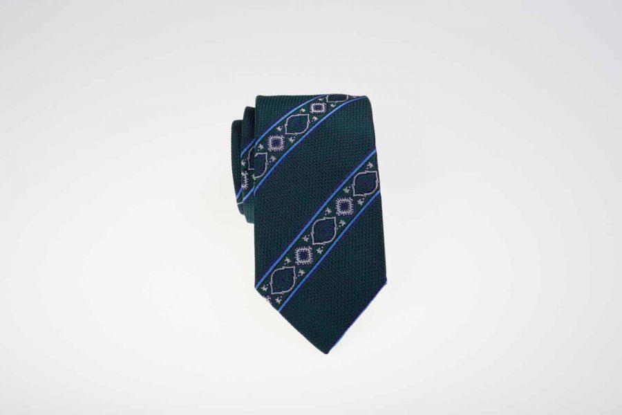 Γραβάτα πράσινη με σιέλ ρίγες, Μετάξι 100%