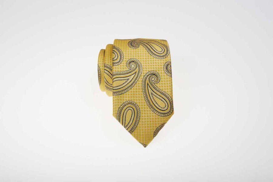 Γραβάτα κίτρινη με γκρι λαχούρι, Μετάξι 100%