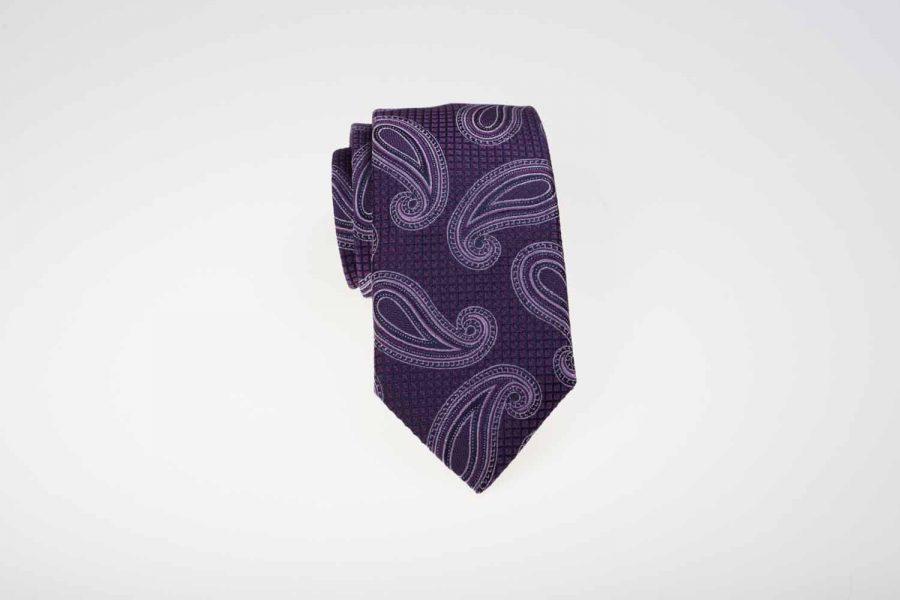 Γραβάτα μωβ με λευκό λαχούρι, Μετάξι 100%