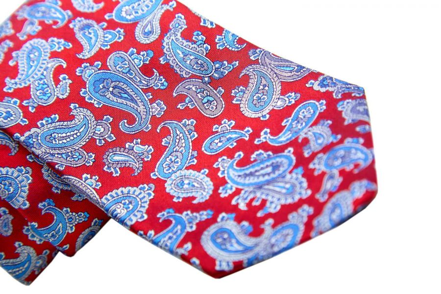 Γραβάτα κόκκινη με σιέλ λαχούρι, Μετάξι 100%