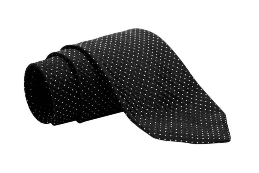 Γραβάτα μαύρη με λευκό πουά, Μετάξι 100%