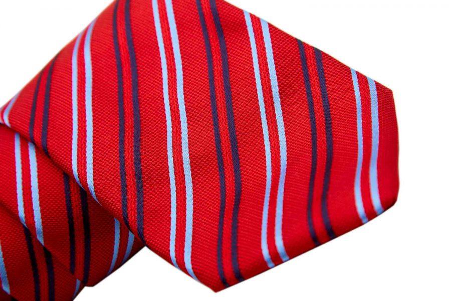 Γραβάτα κόκκινη με blue navy και σιέλ ρίγες, Μετάξι 100%