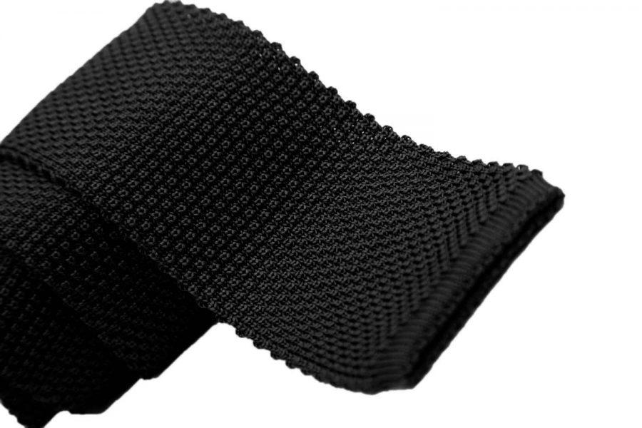Γραβάτα πλεκτή μαύρη, Μετάξι 100%