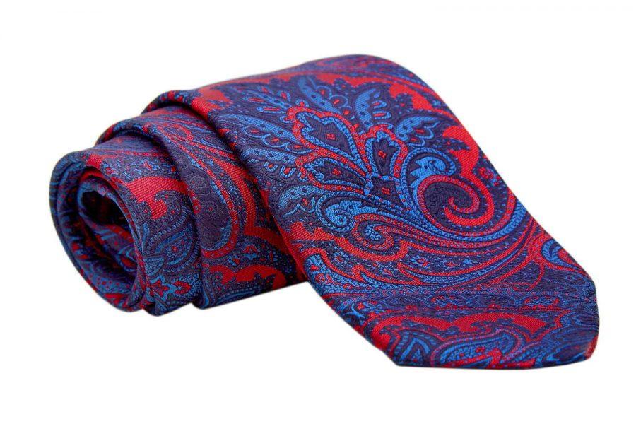 Γραβάτα κόκκινη με μπλε ηλεκτρίκ λαχούρι, Μετάξι 100%