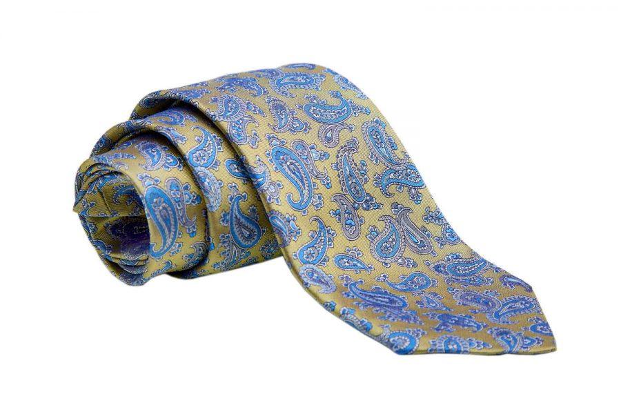 Γραβάτα κίτρινη με σιέλ λαχούρι, Μετάξι 100%