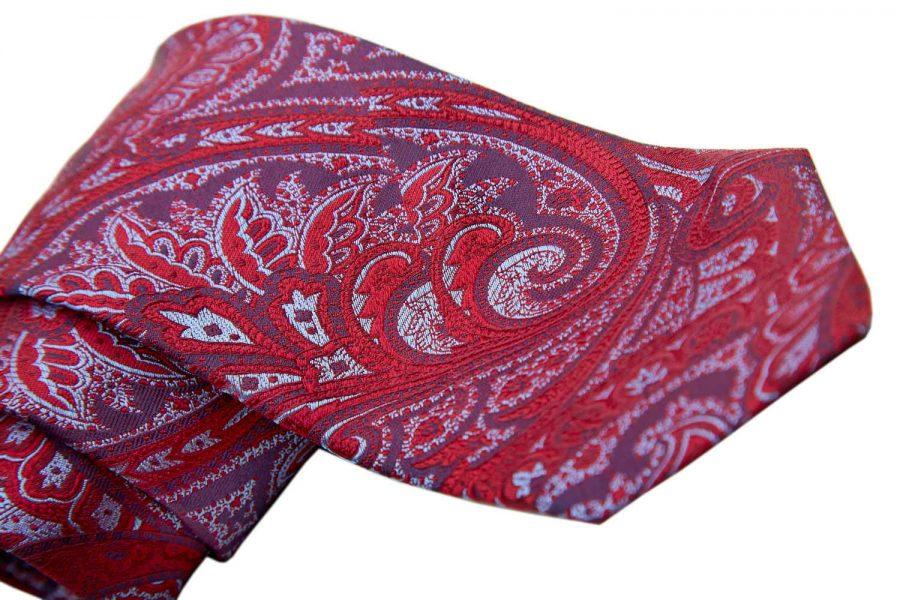 Γραβάτα κόκκινη με σιέλ και μωβ λαχούρι, Μετάξι 100%