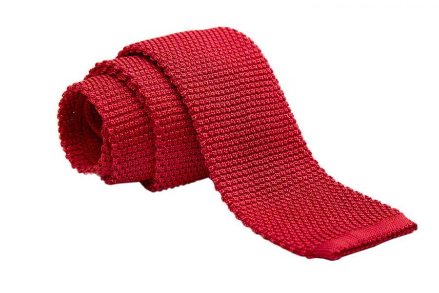 Γραβάτα πλεκτή κοραλί, Μετάξι 100%