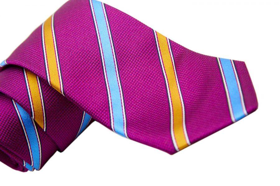 Γραβάτα μωβ με σιέλ και κίτρινες ρίγες, Μετάξι 100%