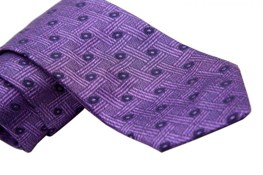 Γραβάτα μωβ με μπλε σχέδια fantasy, Μετάξι 100%
