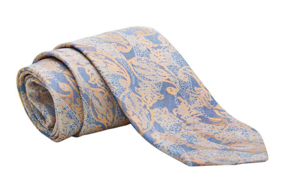 Γραβάτα μπεζ με μπλε fantasy, Μετάξι 100%