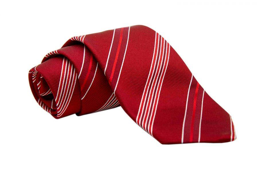 Γραβάτα κόκκινη με μπορντό και λευκές ρίγες, Μετάξι 100%
