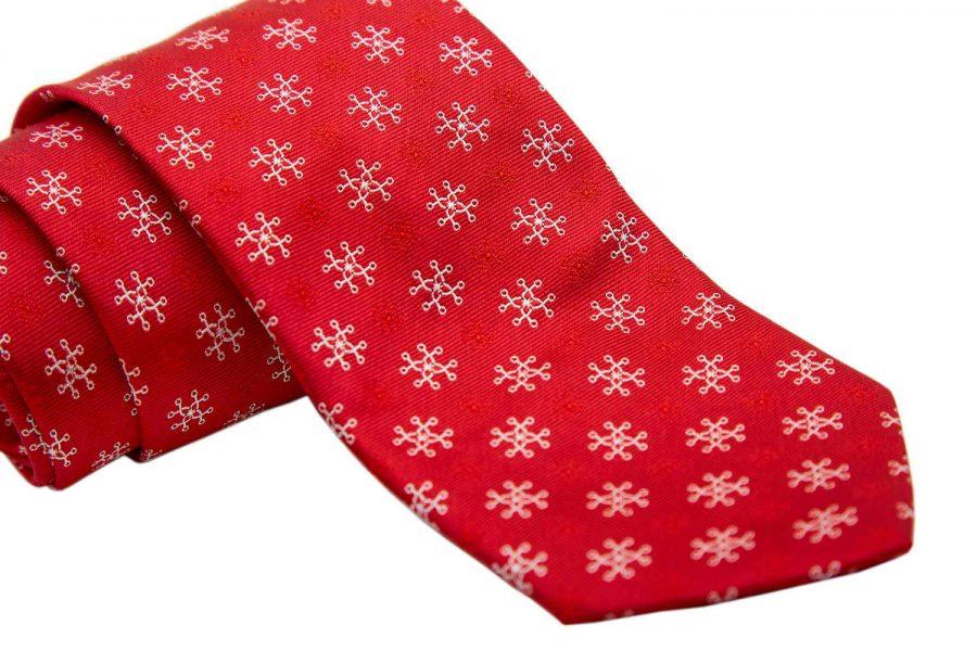 Γραβάτα κόκκινη με λευκό σχέδιο fantasy, Μετάξι 100%