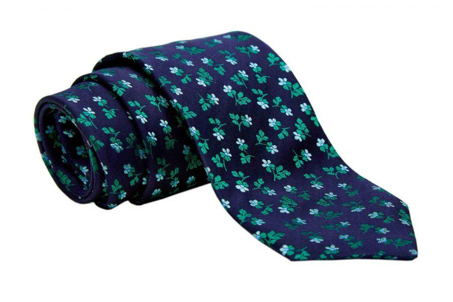 Γραβάτα μπλε σκούρο με πράσινο φλοράλ σχέδιο, Μετάξι 100%