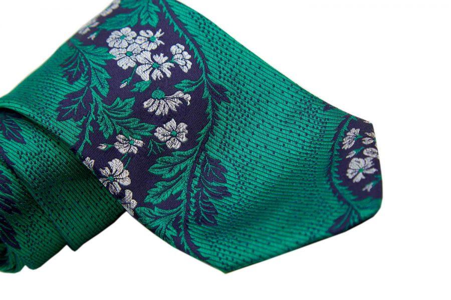 Γραβάτα πράσινη με μπλέ σκούρο και λευκό fantasy - ριγέ, Μετάξι 100%