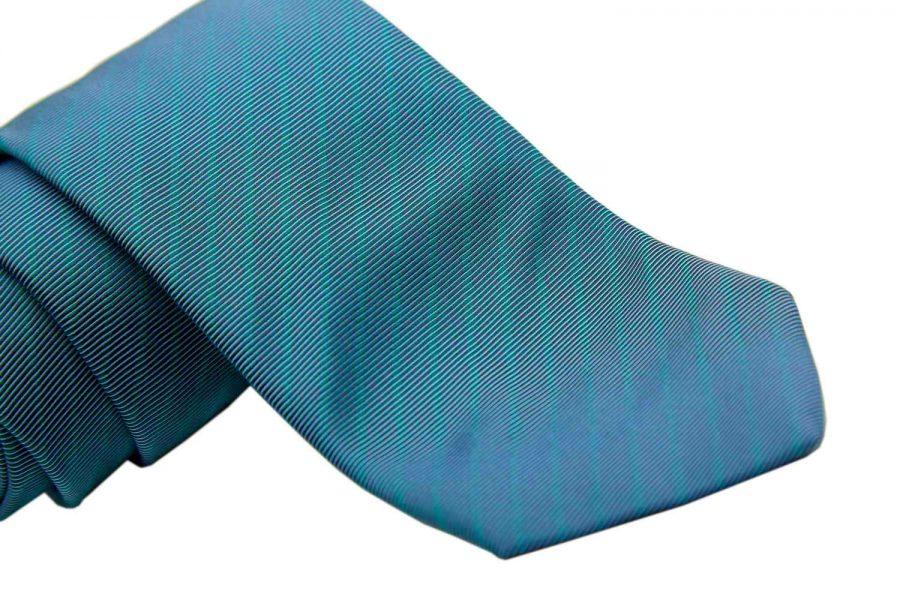 Γραβάτα μπλε - γκρι με πράσινες ρίγες, Μετάξι 100%