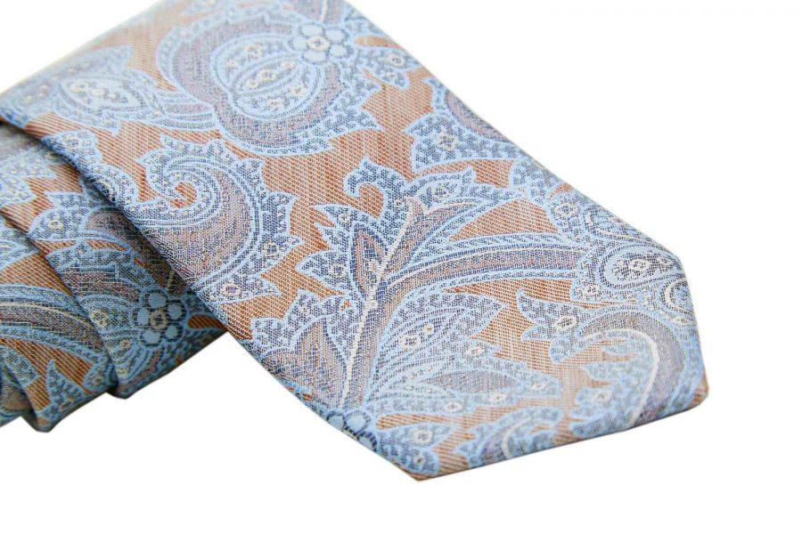 Γραβάτα μπεζ με γαλάζιο - λευκό λαχούρι, Μετάξι 100%