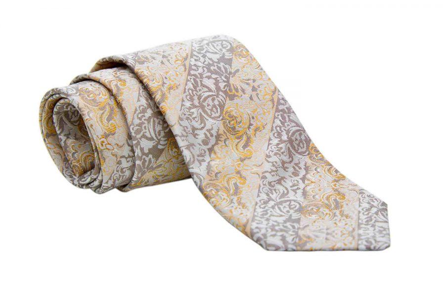 Γραβάτα με γκρι και κίτρινες ρίγες σε fantasy σχέδιο, Μετάξι 100%