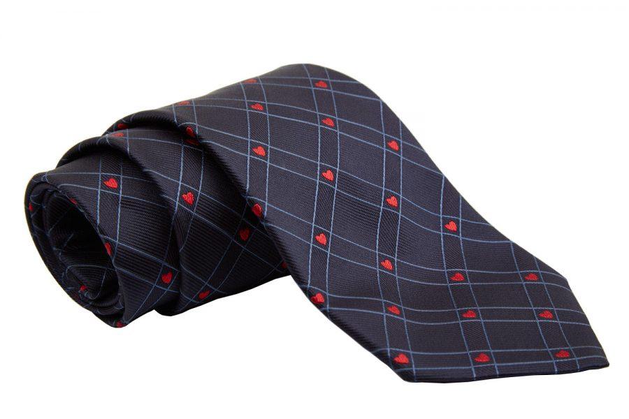 Γραβάτα μπλε σκούρο με κόκκινες καρδίες σε καρό, Μετάξι 100%