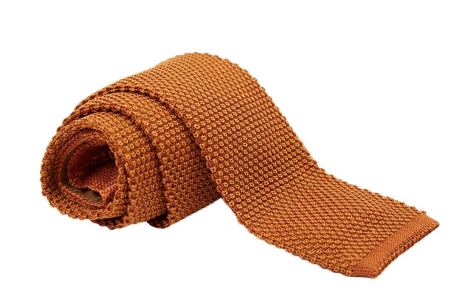 Γραβάτα πλεκτή μονόχρωμη μπεζ - πορτοκαλί, Μετάξι 100%
