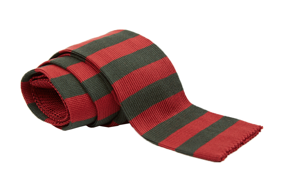 Γραβάτα κόκκινη με πράσινες ρίγες, Μετάξι 100%