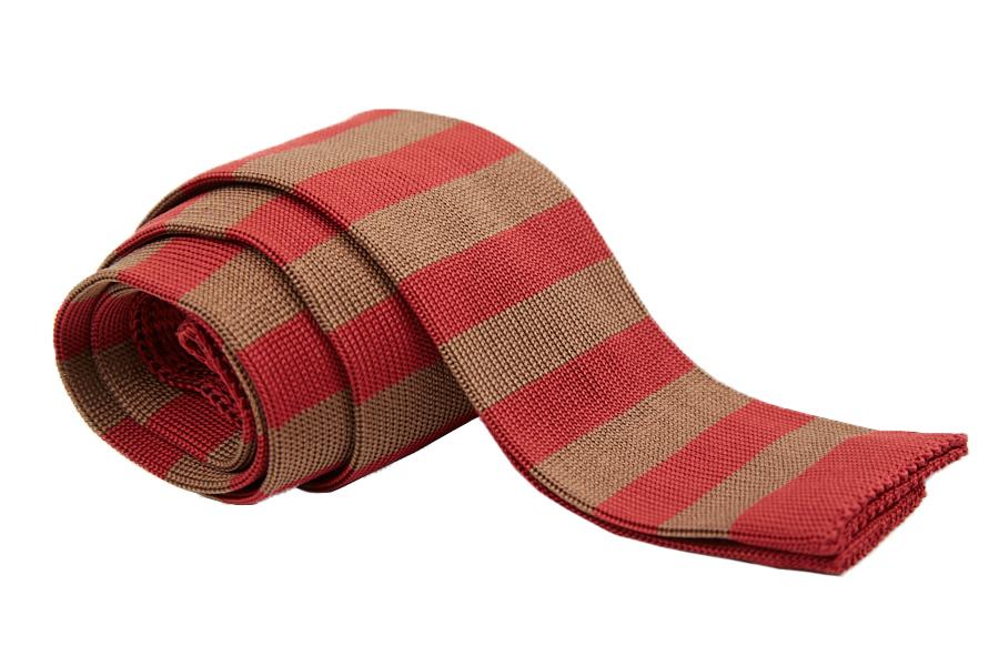 Γραβάτα κόκκινη με μπεζ - καφέ ρίγες, Μετάξι 100%