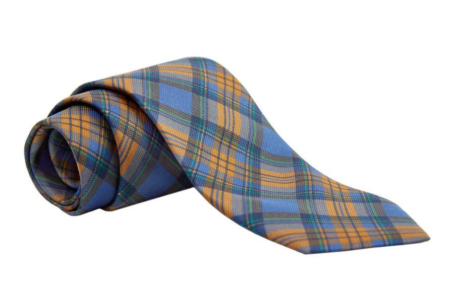 Γραβάτα μπλε με κίτρινο σκούρο και πράσινο καρό, Μετάξι 100%