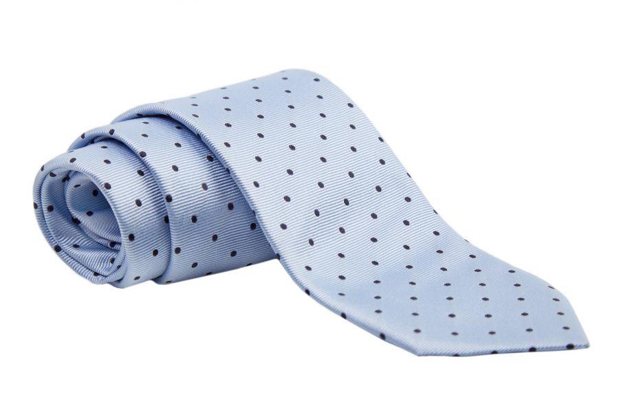 Γραβάτα σιέλ με μπλε σκούρο πουά, Μετάξι 100%