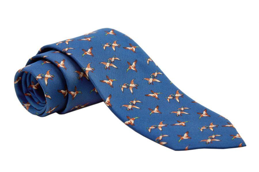 Γραβάτα μπλε οινοπνευματί με καφέ πάπιες, Μετάξι 100%