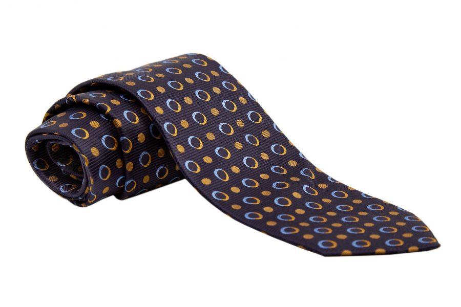 Γραβάτα μπλε με κίτρινα dots, Μετάξι 100%