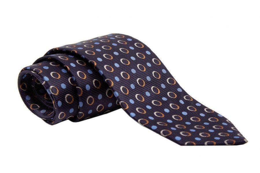 Γραβάτα μπλε με κίτρινα και σιέλ dots, Μετάξι 100%