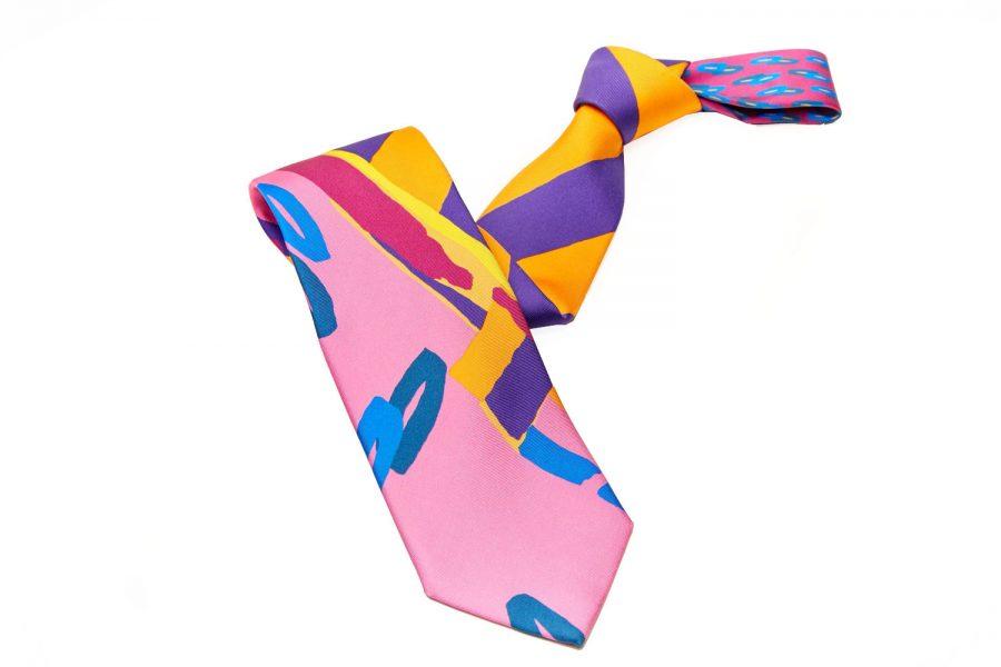 Γραβάτα Ροζ με Μπλε Fantasy, Double Sided, Μετάξι 100%
