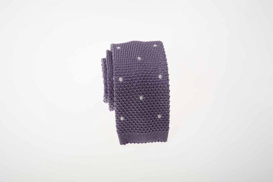 Γραβάτα πλεκτή μωβ με λευκό πουά, Μετάξι 100%