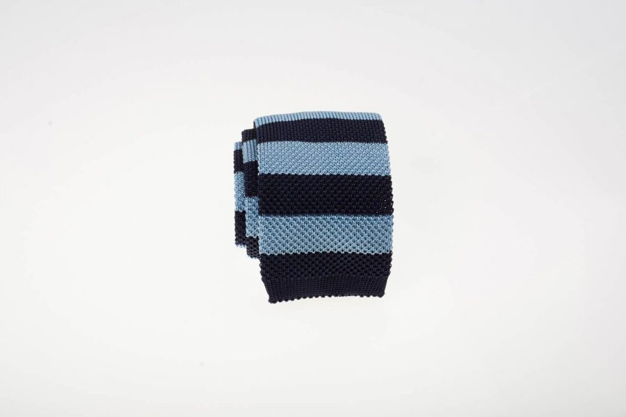 Γραβάτα πλεκτή μπλε σκούρο με μπλε σιέλ ρίγα, Μετάξι 100%