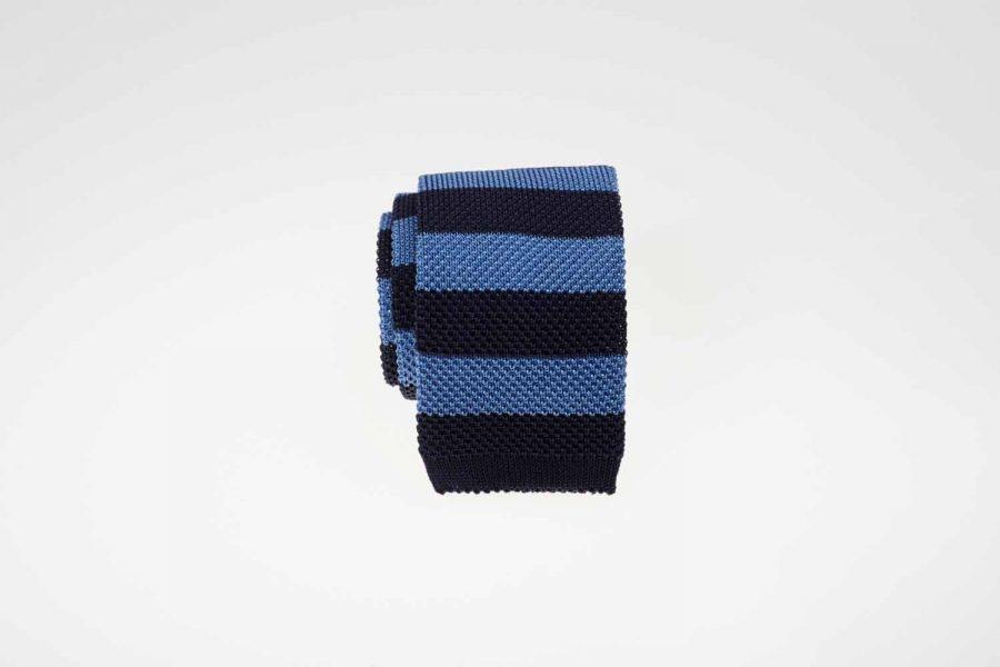 Γραβάτα πλεκτή ριγέ μπλε σκούρο και οινοπνευματί, Μετάξι 100%