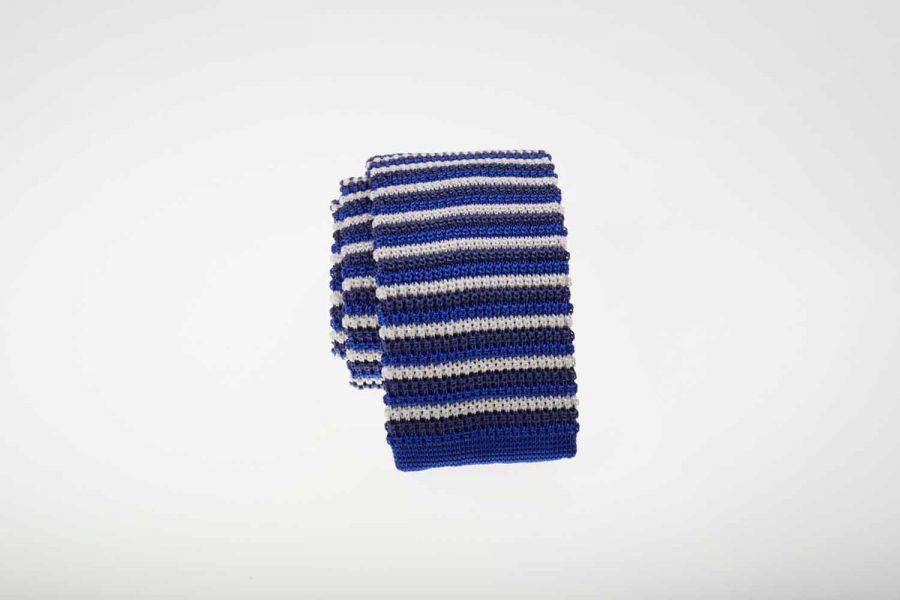 Γραβάτα πλεκτή με μπλε και λευκές ρίγες, Μεταξωτή 100%