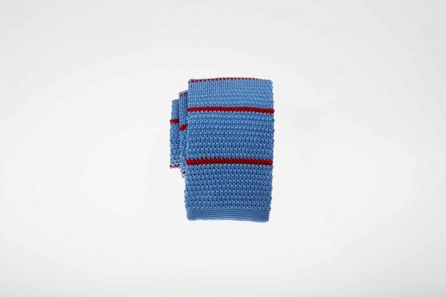 Γραβάτα πλεκτή ριγέ με σιέλ και κόκκινο, Μετάξι 100%